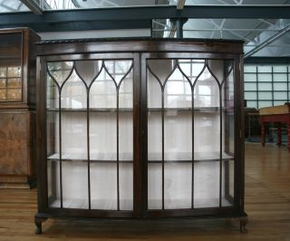 Display Cabinet Bowfront Mahogany Glazed C1920 photo