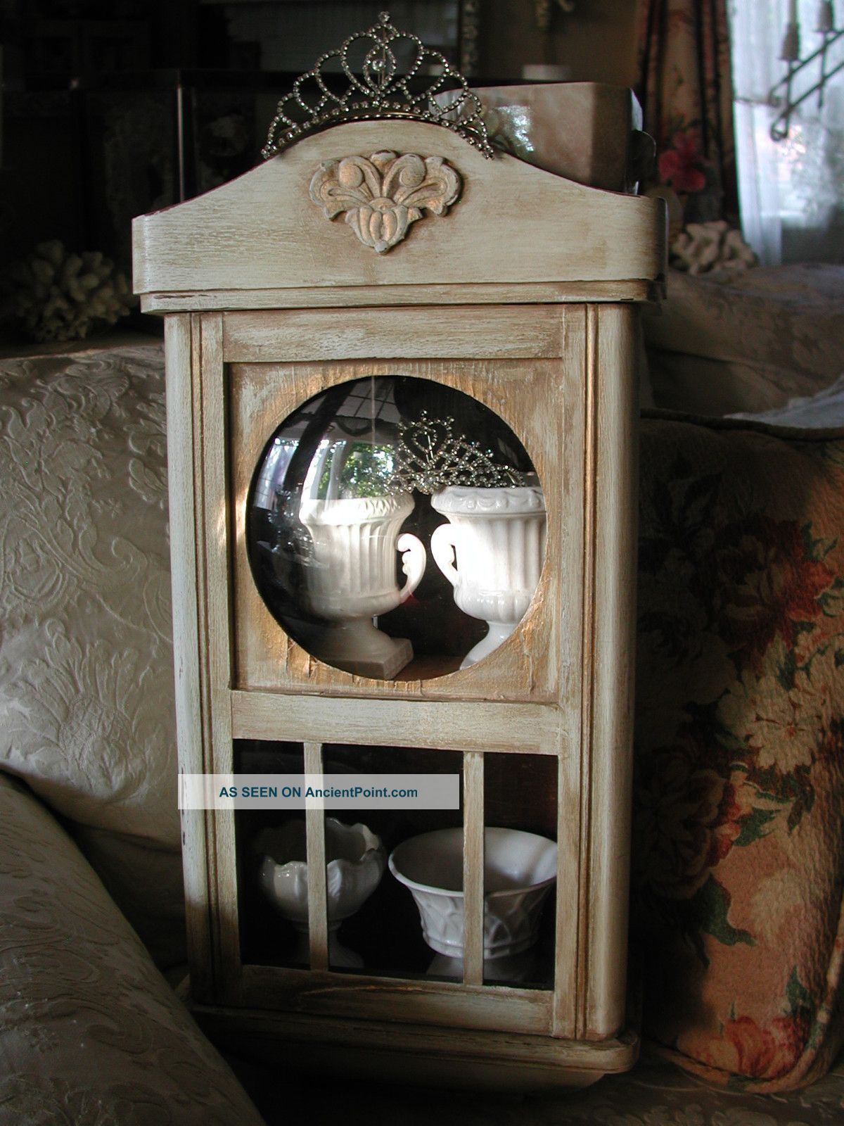 Antique Wood Wall Clock Case Repurposed Shabby Hanging Curio Cabinet ...