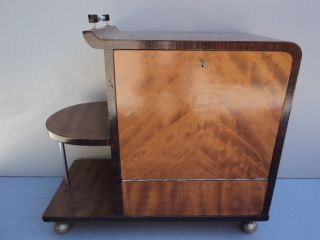 Elegant Art Deco Style Walnut ' S Root Bar Cabinet 08146 photo