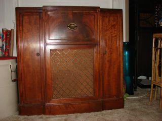 Vintage Firestone Floor Model Radio Cabinet Table Furniture Wood Antique Works photo