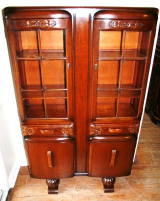 Stamped English Antique Oak Art Deco Oak Bookcase photo