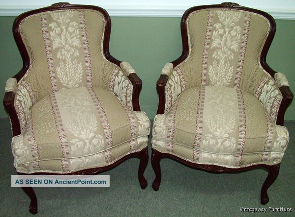 6062: French Carved Pair Bergere Arm Chairs Gorgeous Pennsylvania House Post-1950 photo