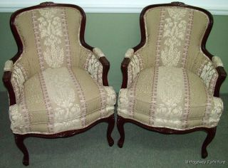 6062: French Carved Pair Bergere Arm Chairs Gorgeous Pennsylvania House photo