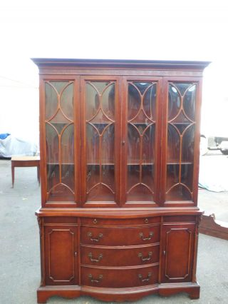 51041 Antique Mahogany Bubble Glass China Cabinet Curio photo
