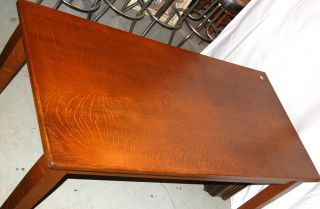 Exquisite Arts & Crafts Style,  Quarter Sawn Oak Library Table With Two Drawers photo
