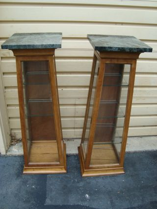 51109 Pair Thomasville Marble Top Pedestal Curio Cabinets photo