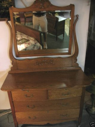 Antique Oak Dresser Bureau Ornate Beveled Mirror Made In Usa photo