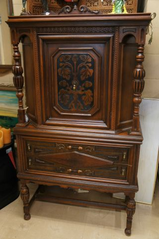 Antique Cabinet Cupboard Carved Burl Wood Accents 2 Drawers Unique Pulls Ships photo