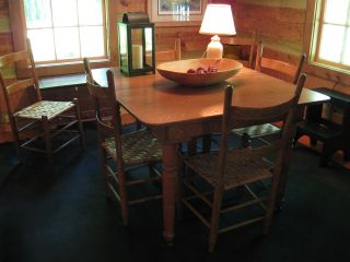 Oak Table With Six (6) Matching Chairs photo