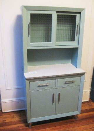 1950 ' S Vintage Medical Cabinet Custom Made Steel Glass Light Blue Doctor Dental photo