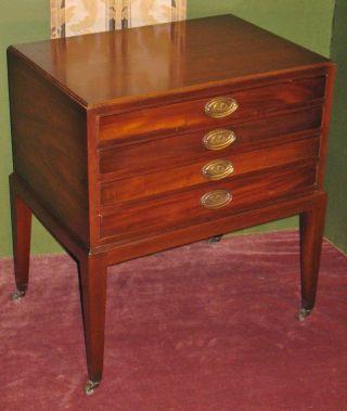Vintage Rare Mahogany Hepplewhite Style Nesting Tables Set 4 Drawer Cabinet photo