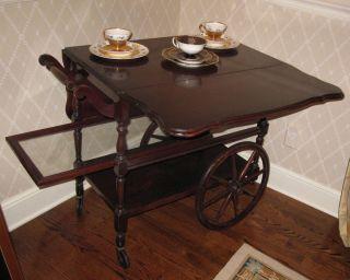 Antique Imperial Style Mahogany Tea Cart Circa 1930 photo