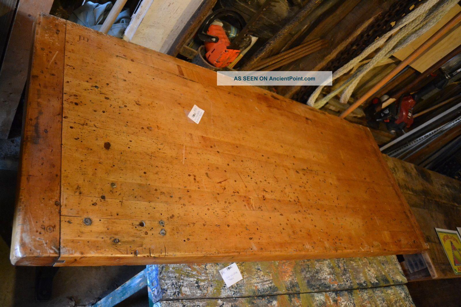 vintage butcher block dining table metal industrial factory legs workbench 1 lgw