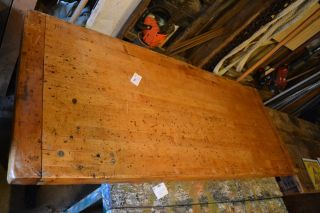 Vintage Butcher Block Dining Table Metal Industrial Factory Legs Workbench photo