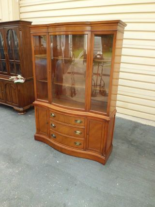 50190 Antique Mahogany China Cabinet Breakfront photo