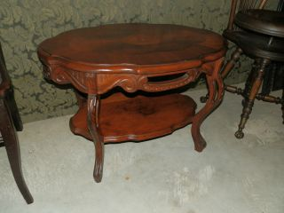 Wonderful Antique Hand Carved Coffee Table W/marquetry Detail photo