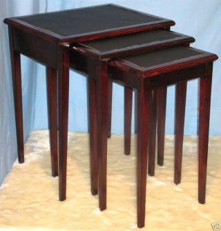 Vintage Hepplewhite Style Nesting Tables Stack Set 3 photo