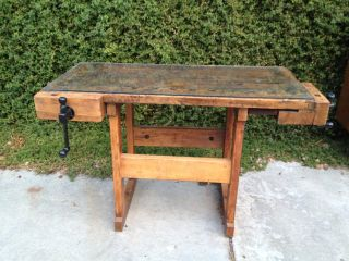 Vintage Antique Work Bench Workbench Wood 1930 ' S 2 Vices Glass Top Table Counter photo