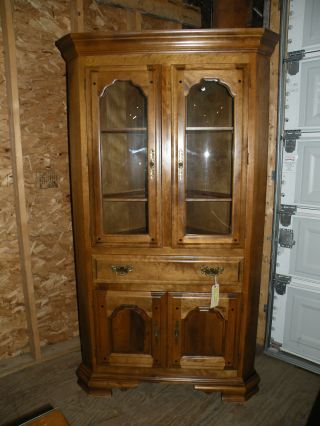 Antique Temple Stuart Bubble Glass Corner Cabinet photo