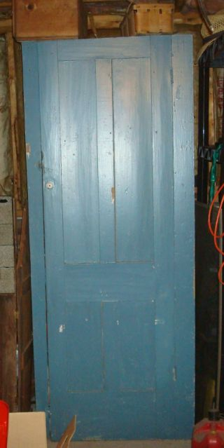 Antique Tall Jelly Cupboard With Single Door,  Old Blue Paint Country Piece photo