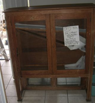 Antique Cabinet Cupboard Wood Glass Pie Safe Pine Jelly photo