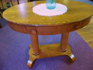 Antique Oak Table Library Oval Refinished 36