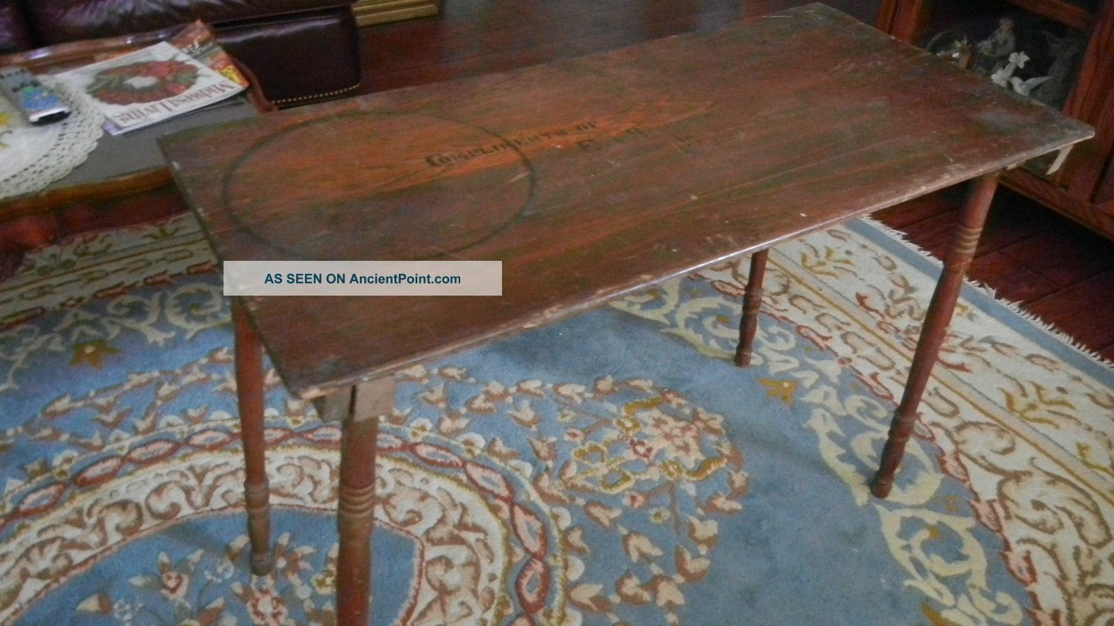 Picture of: Antique Folding Sewing Table With One Yard 36 In Ruler Still On Top Also Signed