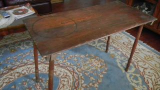 Antique Folding Sewing Table With One Yard 36 In.  Ruler Still On Top - Also Signed photo