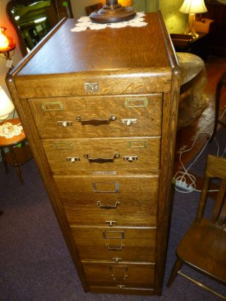 Antique Oak File Cabinet Industrial Library Bureau,  5 Drawer Refinished 1/4 Sawn photo