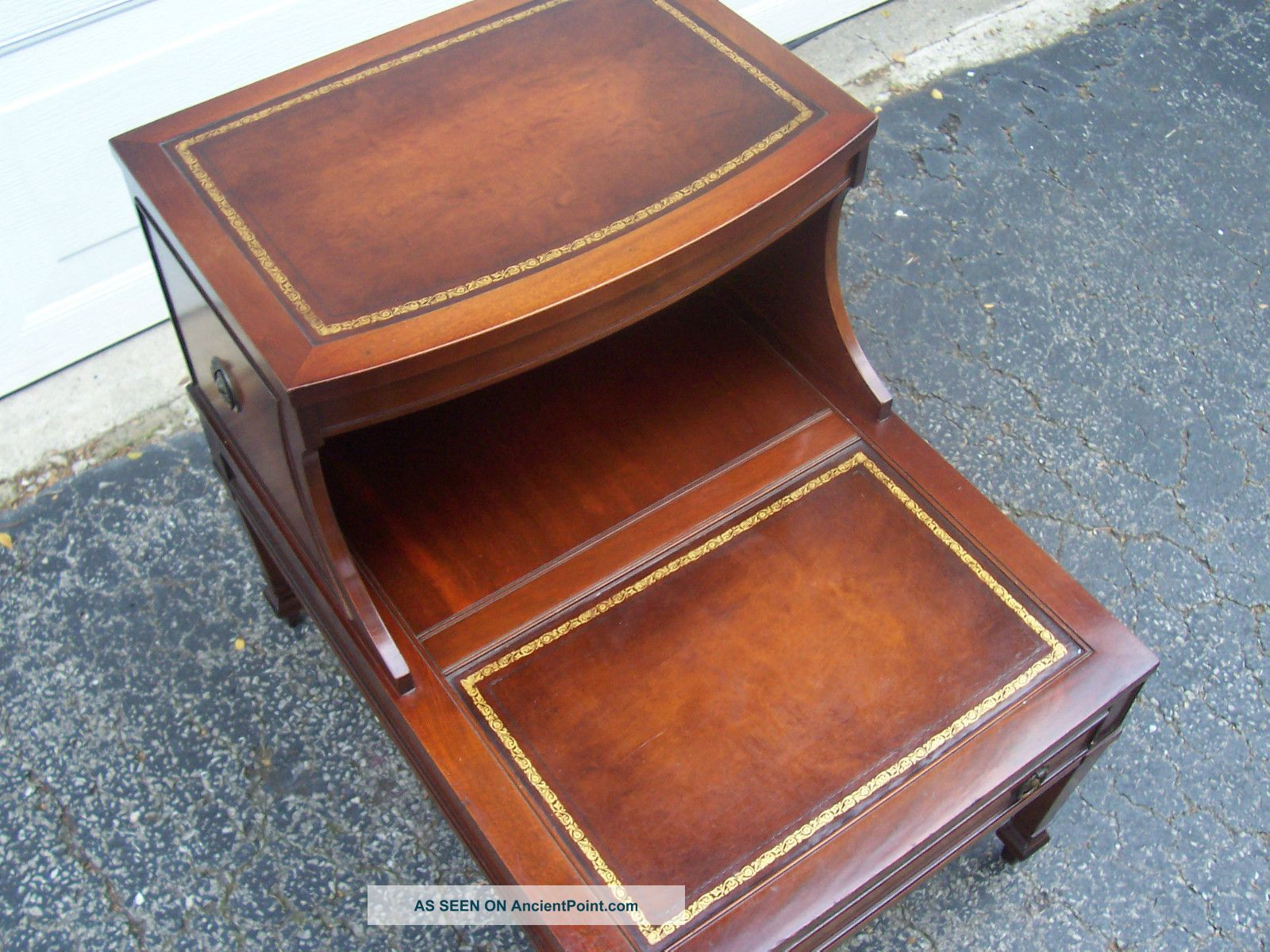 Vintage Mahogany Leather Top Step End Table