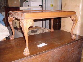 Chippendale Walnut Coffee Table Carved Claw Feet Photo