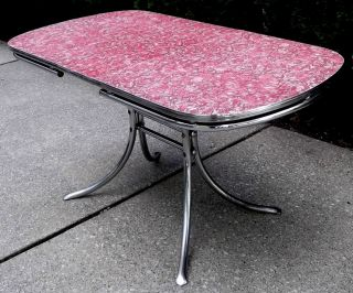1950s Mid - Century Retro Red Laminate & Chrome Kitchen Dining Table Watertown Co photo