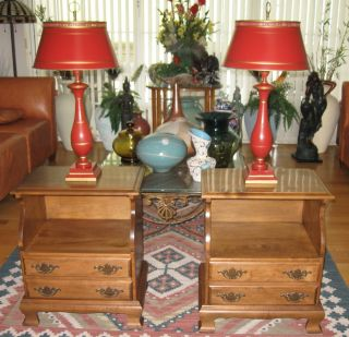 Pr Mid Century Colonial Style Night Stands 2 Drawer Solid Wood photo