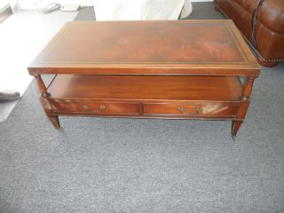 1940 - 1950 Antique Leather Top With Gold Leaf Embossed Coffee Table photo