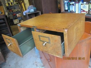 Globe Tiger Oak Dovetailed Case 2 Drawer Index Card Library Catalog File Cabinet photo