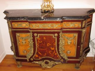 Antique French Louis Xvi Inlaid Commode Dresser Chest Bronze photo