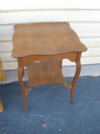 47646 Antique Victorian Solid Oak Lamp Table Stand photo