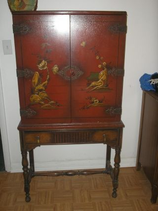 St Antique Oriental Cabinet 1920 ' S ? Marriage Locking Doors W Key Ornate Shelves photo