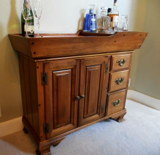Pristine Condition Antique American Rock Maple Dry Sink Bar Sprague & Carleton photo