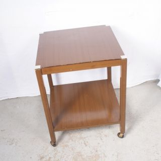 Vintage/antique British Oak 2 Square Tier Tea Trolley Server Cart English photo