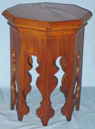 Antique Solid Oak Octagonal Plant Stand Lamp Table Display Stool 8 Shaped Legs photo