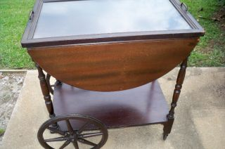 Antique Paalman Tea Cart W/glass Tray Label photo