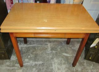 Vintage Retro 1930s - 1940s Enamel Table Wood - Grain Pattern W Leaves + Drawer E366 photo