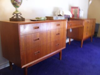 Midcentury Danish Modern Mobler Desk Teakwood Dresser Credenza Table photo
