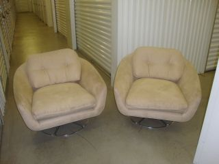 Vintage 1960 ' S Bucket/tub Swivel Chairs Beige Suede 2 Of Them photo