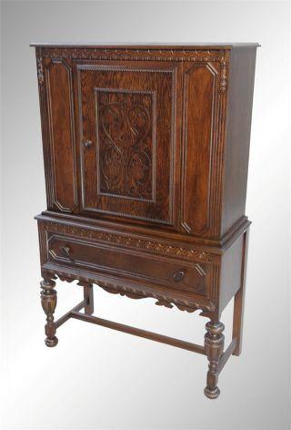 15948 Antique Oak Carved Door China Cabinet/bar photo