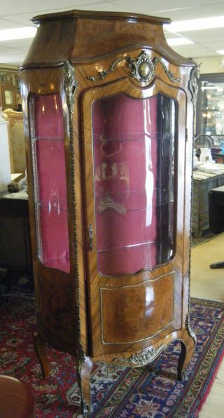 Vintage French Display Cabinet Vitrine Curio Curved Glass Bent Wood Ormolu Gold photo