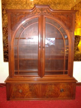 Unique Rare Antique Arched Glass Doors W/ Exotic Wood Inlaid Curio China Cabinet photo