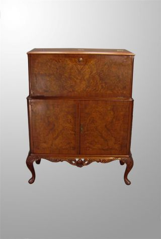 15841 Antique Rare Burl Walnut Cocktail Bar - Carved Chippendale photo