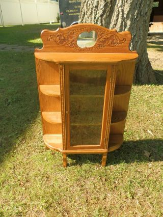 Gorgeous Antique Oak Free Standing Curio Cabinet W/shelves & Mirror photo